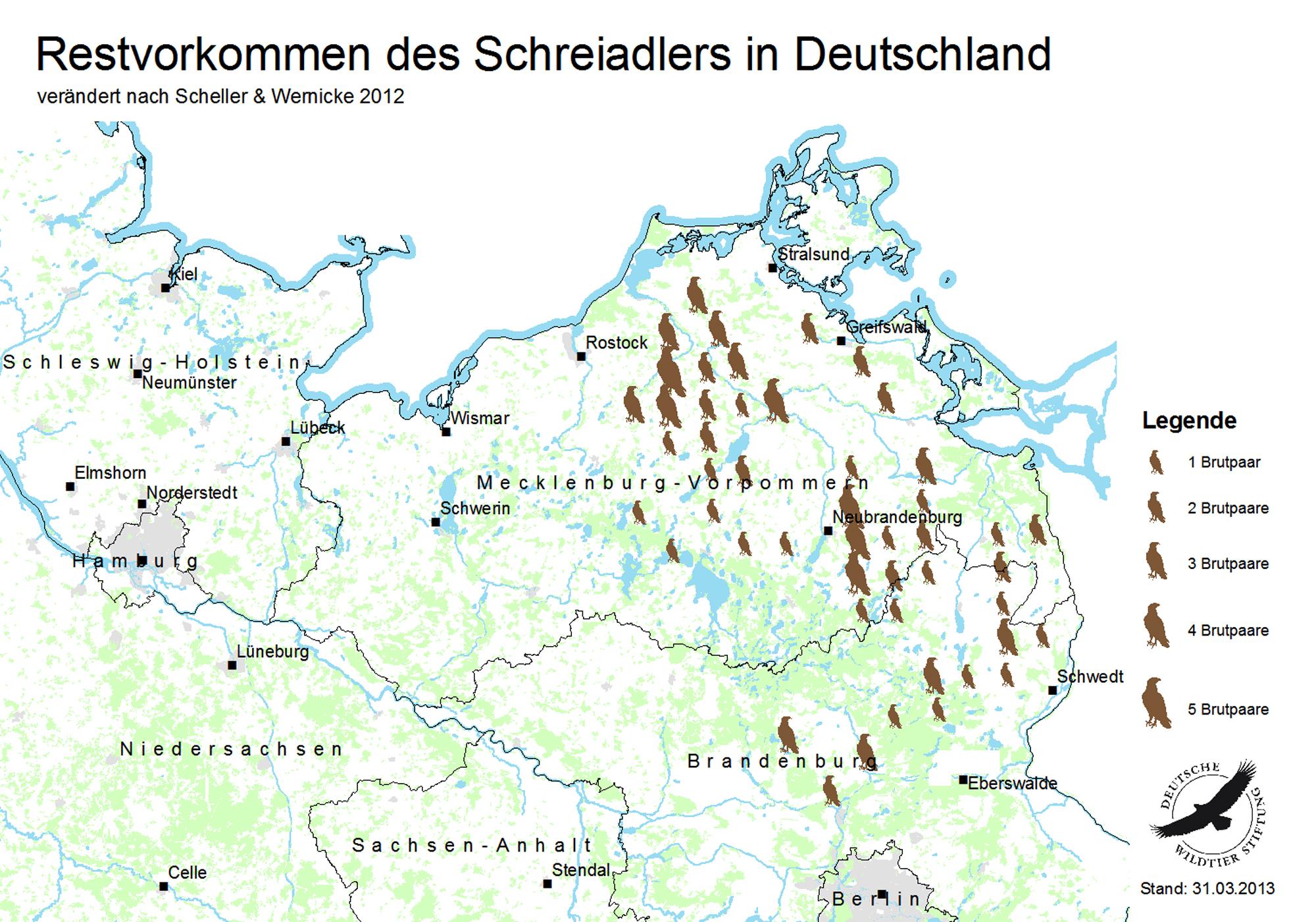 Verbreitungskarte: Das Vorkommen des Schreiadlers in Deutschland
